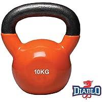 DIABLO Orange Powder Coated Solid Cast Iron Kettlebell Weights (Weight 10KG)