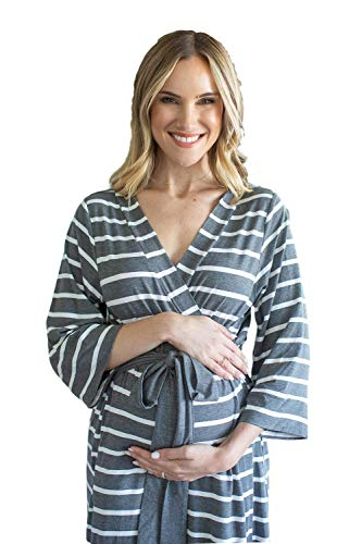 Baby Be Mine Maternity Labor Delivery Nursing Robe Hospital Bag Must Have (S/M pre Pregnancy 4-10, Grey Stripe) -