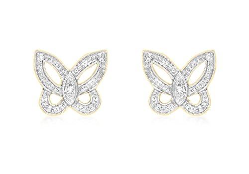 9ct or jaune Diamant Papillon boucles d'oreille à tige