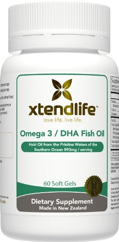 Omega 3 DHA Fish Oil by Xtend-Life | Exclusive New Zealand Formula of 100% Pure, Natural Fish Oil with More DHA For Extra Strength (60 Soft Gels) - Exclusive Tuna Fish