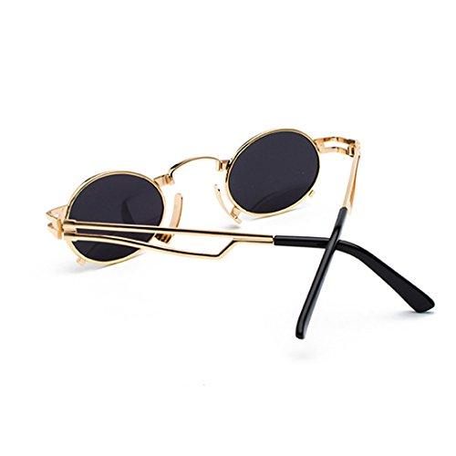 eyewear femmes Frêne Noir métallique soleil en à Lunettes Vintage Aiweijia Oval petit lunettes de soleil Cadre Rond UV400 Hommes de monture Or 1xqx8wA5R