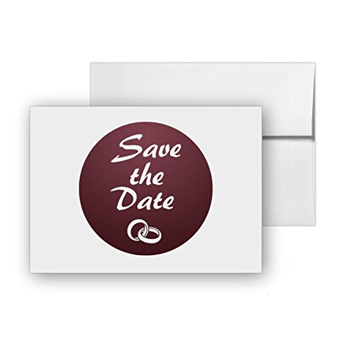 Date White Ring - Save the Date Rings Wedding Announcement, Blank Card Invitation Pack, 15 cards at 4x6, with White Envelopes, Item 1386590