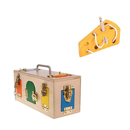 MagiDeal Wooden Montessori Toys - Cheese Maze & Lock Box, Kids Practical Life Toys ()