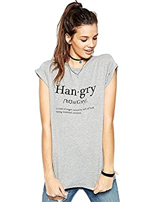 FV RELAY® Women's Fitted Han.gry Print Crew Neck Short Sleeve Tee Shirt Top Gray