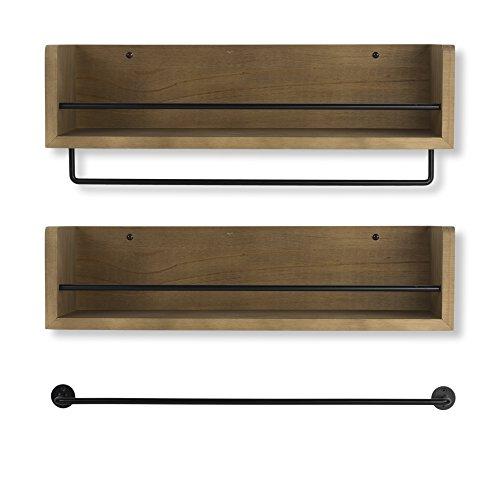 Kitchen Metal Wall Shelf: New Set Floating Shelves Of Rustic Kitchen Wood Wall Shelf
