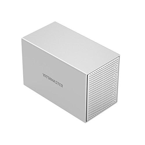 Yottamaster Aluminum Alloy 5 Bay 3.5 Inch USB3.0 RAID External HDD Enclosure SATAIII Support 5 x 10TB & UASP -Silver by Yottamaster