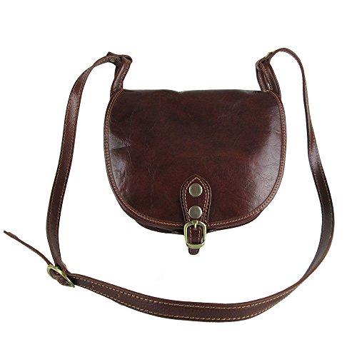 borsa in vera pelle con tracolla Made in Italy color cuoio