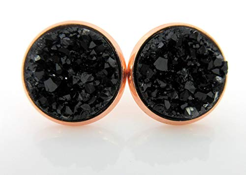 - Rose Gold-tone Black Faux Druzy Stone Stud Earrings 12mm