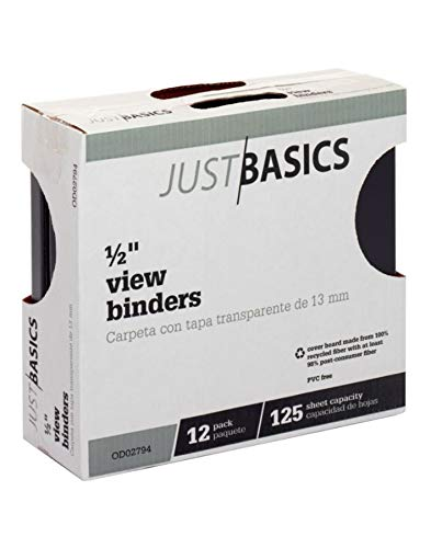 Just Basics Round-Ring View Binder, 1/2