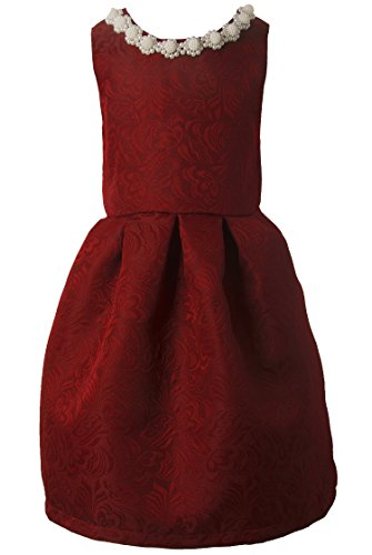 Ipuang Little Girls' Lovely Pattern Dresses for Special Occasions 4t Bright Red