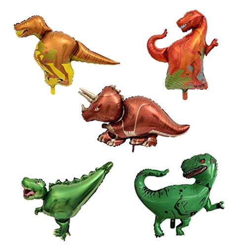 5pcs Dinosaur Foil Balloons Aluminum Mylar Helium Balloons for Wedding Birthday Party Photo Prop ()