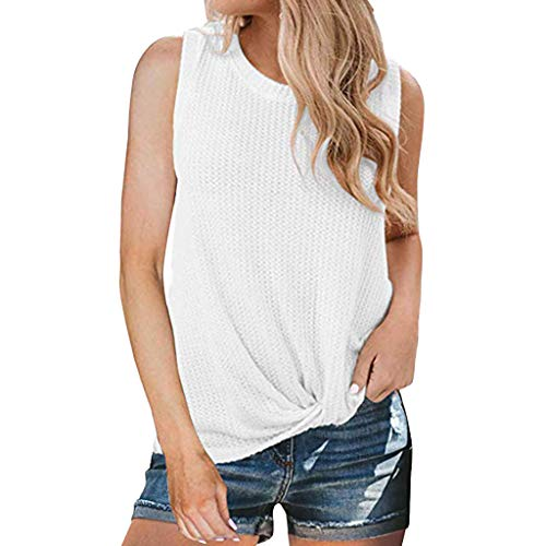 - Tantisy ♣↭♣ Women's Sleeveless Knitting Blouse Trend Draped Front Knot Top Fashion Ladies Comfy All Day T Shirt White