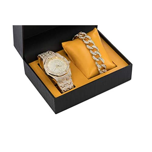 Gold Micro CZ Iced Out Watch and 15mm Cuban Link Bracelet Gift Set | Non-Branded Dial | Analog Display | 2 Piece Gift with Box