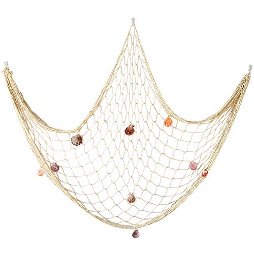 Natural Fishing Net Decor with Shells 79 Inch Beach Theme Decor for Party Home Bedroom Nautical Room Wall Decoration Fish net -