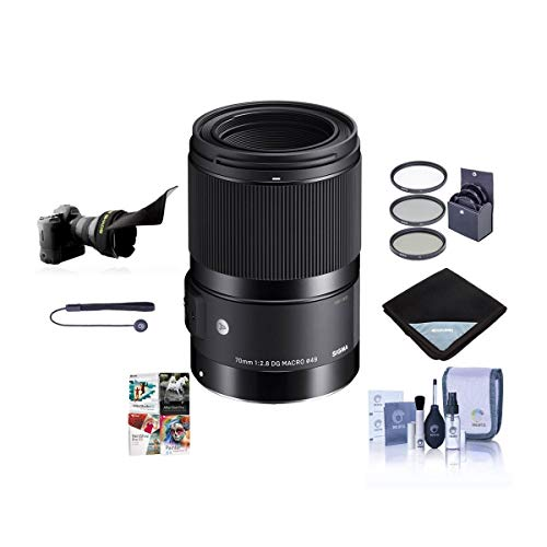Sigma 70mm f/2.8 DG Art Macro Lens for F/Sony E Cameras - Bundle with 49mm Filter KIt, Flex Lens Shade, Lens Wrap, Cleaning KIt, Capleash, PC Software Package