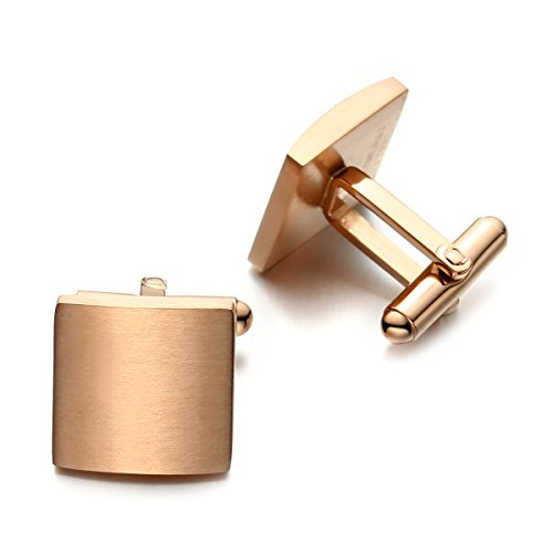 (PenSee Classic Business Wedding Stainless Steel Cufflinks for Men with Gift Box Styles (Square-Matte Finishes & Plating Rose Gold))