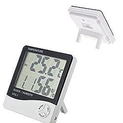 LtrottedJ Humidity Meters LCD Digital Temperature ,Humidity Meter Hygrometer Alarm Clock Time