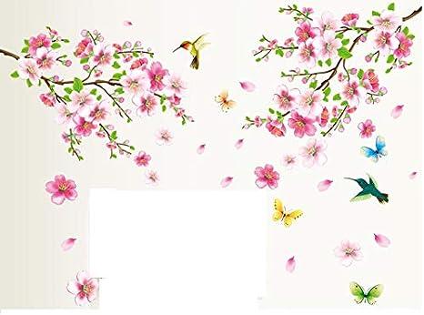 Hallobo Xxl Wandtattoo Pfirsichblute Blumen Vogel Schmetterling Wandaufkleber Wandsticker Wall Sticker Wohnzimmer Schlafzimmer Deko Amazon De Kuche Haushalt