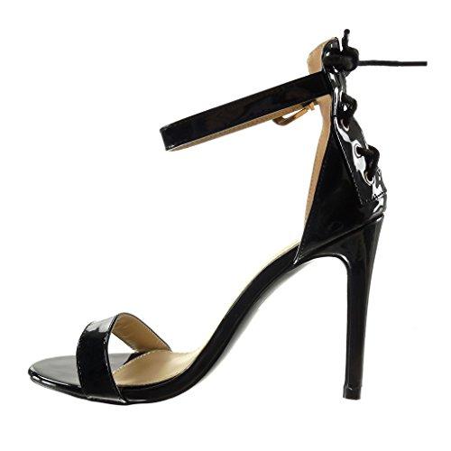 Angkorly - Scarpe da Moda scarpe decollete sandali stiletto sexy donna merletto tanga Tacco Stiletto tacco alto 10.5 CM - Nero