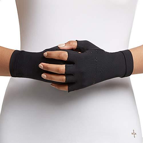 Tommie Copper Women's Core Compression Half Finger Gloves, Black, Large