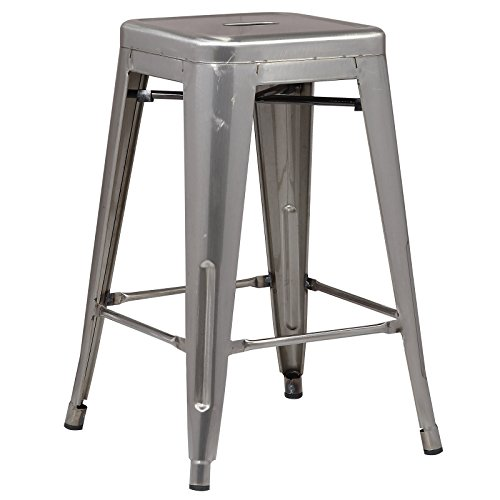 Poly and Bark Trattoria 24 Counter Height Stool in Polished Gunmetal
