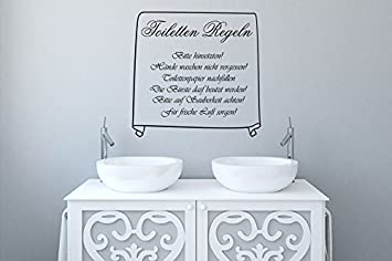 Wandtattoo Badezimmer Toiletten Regeln Nr 2 WC-Deckel Aufkleber Bad ...