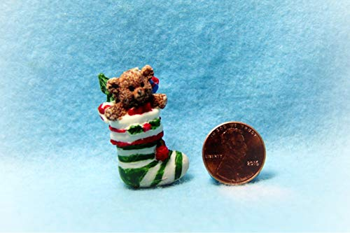 Dollhouse Christmas Stocking Teddy Bear Decoration KL0829 - Miniature Scene Supplies Your Fairy Garden - Doll House - Outdoor House Decor