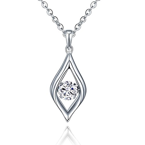 YL Eye Necklace Sterling Silver Dancing Diamond Teardrop Pendant Cubic Zirconia Jewelry