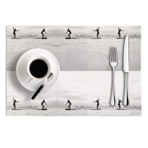 Octayi Placemats Set of 2 Heat Insulation Stain Resistant Placemat for Dining Table Surfing Inspiration Crossweave Woven Vinyl Washable Table Mats