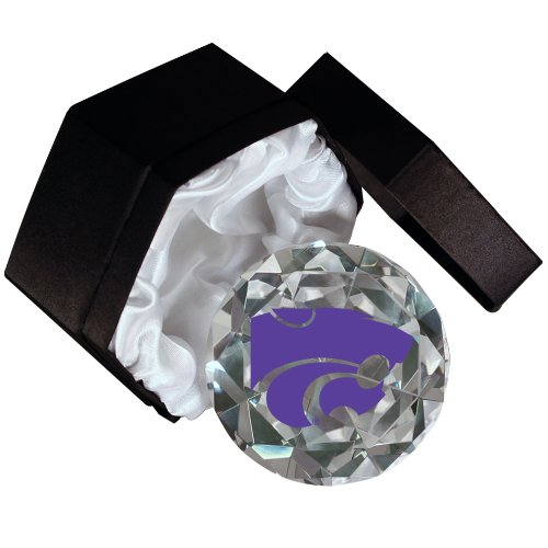 NCAA Kansas State University Wildcats 4-Inch High Brillance Diamond Cut Crystal Paperweight (Wildcats Glass)