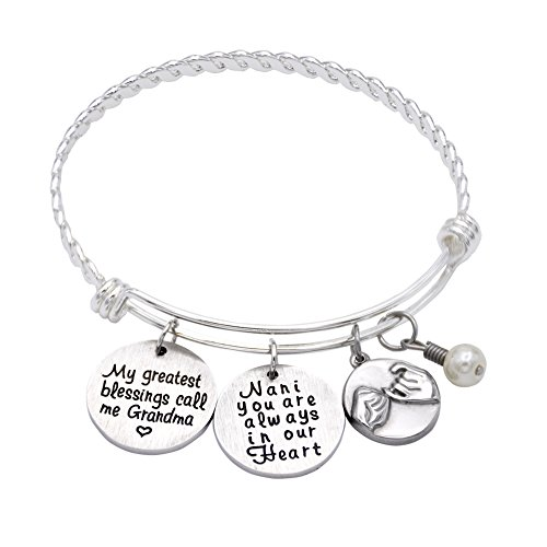 My Greatest Blessings Call Me Grandma - Nana Bracelets , Adjustable Silver Stainless Steel Wire Bangle Bracelet Grandmother's bracelet - Grandma Nana Yia Yia jewelry