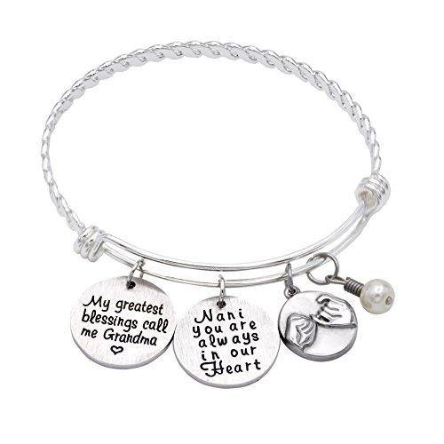 O.RIYA My Greatest Blessings Call Me Grandma - Nana Bracelets, Adjustable Silver Stainless Steel Wire Bangle Bracelet Grandmother's Bracelet - Grandma Nana YIA YIA Jewelry