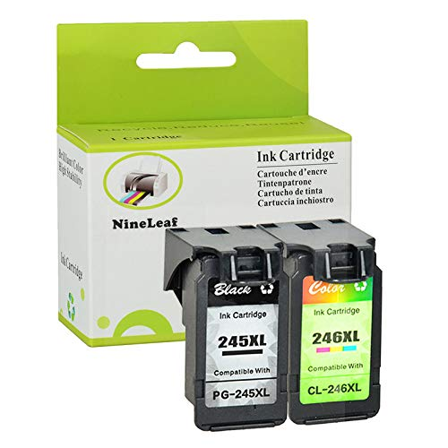 (NineLeaf Remanufactured Ink Cartridge Replacement for Canon PG-245XL CL-246XL PG-243 CL-244 PIXMA MG2520 MG2920 MG2922 MG2924 MG2420 MG2522 MG3022 MG2555 MX492 Printer (1 Black 1 Tri-Color,2 Pack))