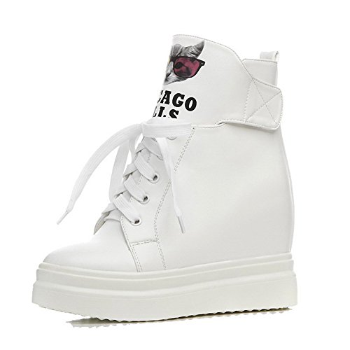 AllhqFashion Womens High-Heels Soft Material Low-top Assorted Color Hook-and-loop Boots White
