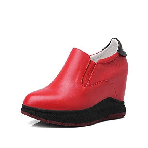 Black Colore dimensioni piattaforma morbide CJC Scarpe EU35 Scarpe Scarpe pelle UK3 bianca in Red Scarpe femminile alte interna casual 4B84Oqw6