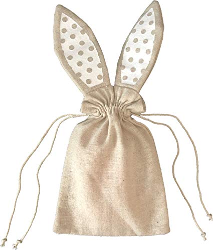 Easter Favor Bags - 10 Pack Mini Canvas Bunny Drawstring Bags Easter Treat Bags for Party Favors - Paint You Own DIY Bunny Bags 5.5