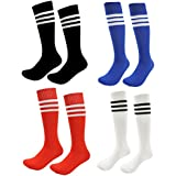 Kids Soccer Socks 4 Pack Boys Girls Cotton Team Socks Teens Children Soccer Socks (Shoe size 8-13 and Ages 4-7, Rainbow1)