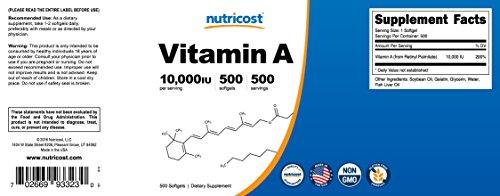 Nutricost Vitamin A 10,000 IU, 500 Soft Gel Caps