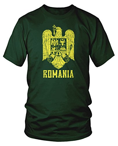 Amdesco Men's Romanian Coat of Arms, Arms of Romania T-Shirt, Forest Green -