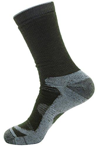 Wantdo Men's Full Cushion Gentle Compression Seamless Wool Ski Socks(Army Silver,US 10-13) Marine Moisture Control