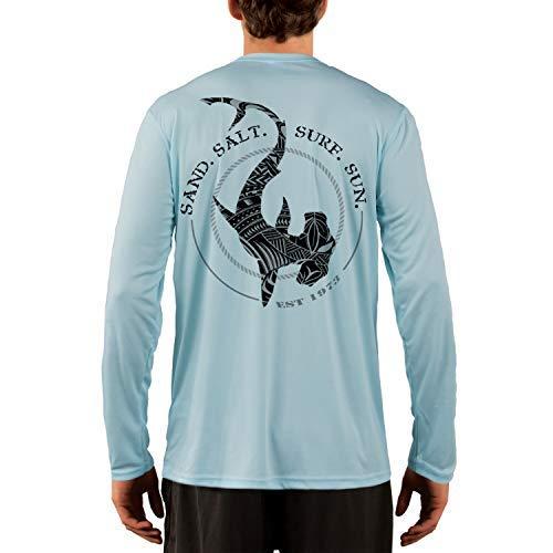 (SAND.SALT.SURF.SUN. Polynesian Hammerhead Tribal Men's UPF 50+ Long Sleeve T-Shirt Large Arctic Blue)