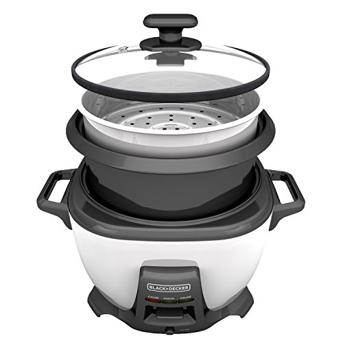 BLACK+DECKER RCS614 14-Cup Cooked/7-Cup Uncooked Rice Cooker and Food Steamer with Sauté Function, White