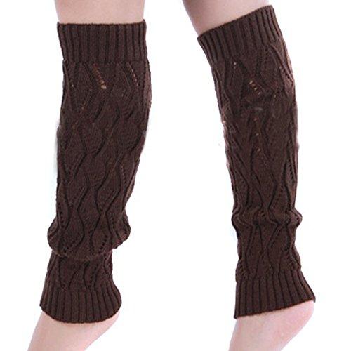 Eforstore Holle Stijl Blad Patroon Winter Been Voet Warmer Kniehoge Knit Breien Boot Sokken Socking Legging Voor Vrouwen En Meisjes Koffie