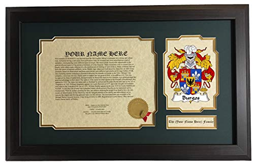 Burgos Collection - Burgos - Coat of Arms and Last Name History, 14x22 Inches Matted and Framed