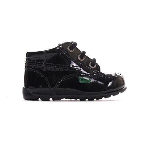 Kickers Kick Hi Baby Patent Infant Toddler Kids Shoe Boot Black - UK 4
