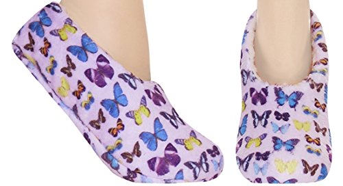 Capelli New York Butterfly Microcozy Pull On Slipper Sock Multi M / L