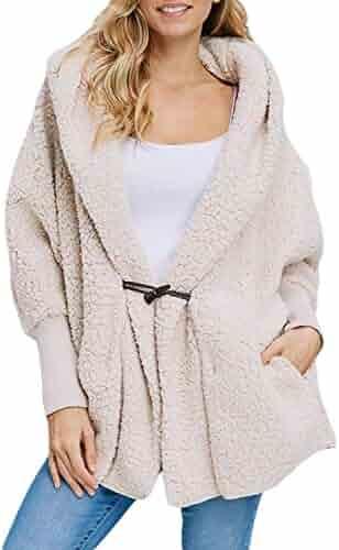 f2549c1d2e Happy Sailed Women Button Lapel Hooded Faux Fuzzy Shearling Fleece Open  Front Warm Oversized Jackets Coat