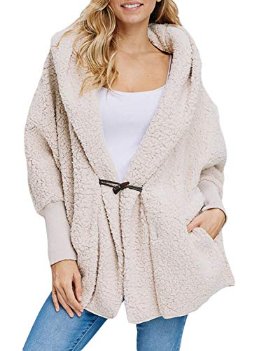 Happy Sailed Women Fashion Long Sleeve Lapel Button Faux Shearling Shaggy Oversized Coat Jacket with Pockets Warm Winter XL Apricot