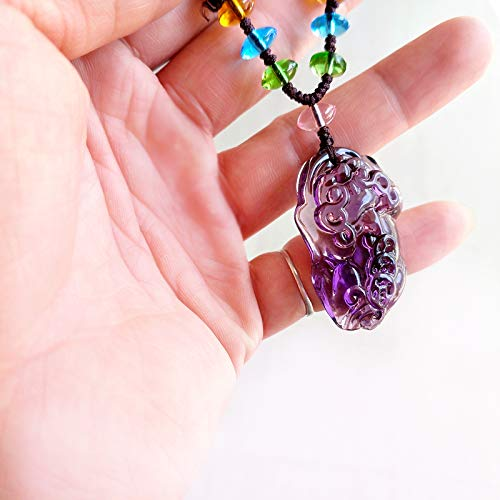 glass necklace pendant chain couple evil brave lucky auspicious jewelry sweater men women obsidian domineering (purple glass beads rope seven [large]