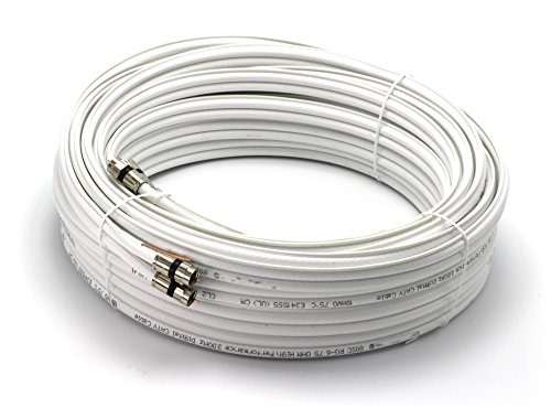50ft Dual RG6 Coax 18AWG Coaxial Cable With Attached Ground Wire, High Quality Compression Connectors, White